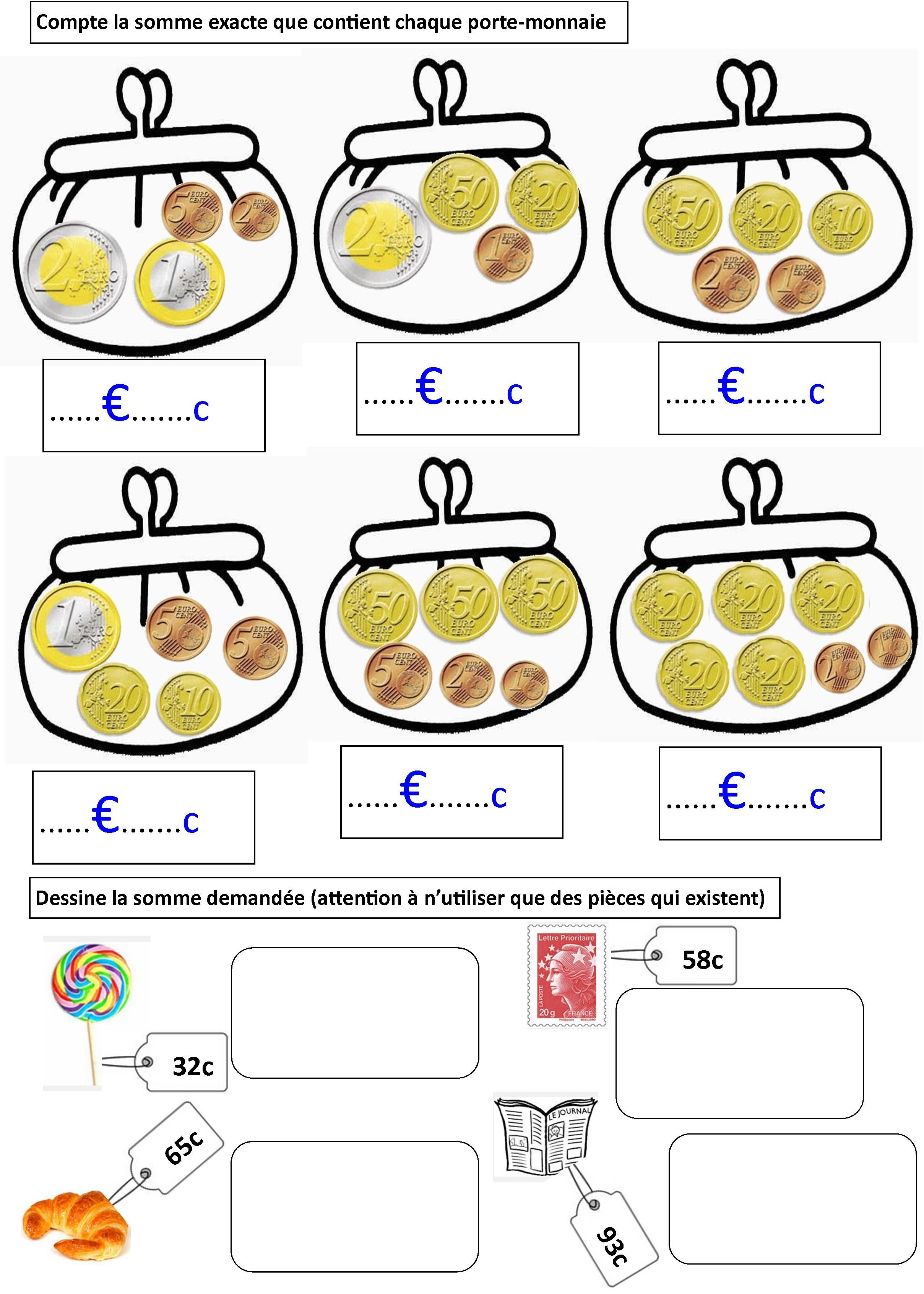Berühmt exercices 1 | monnaie € * money $ | Pinterest | Exercices, École  ML35