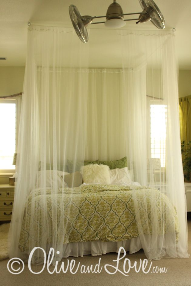 DIY Ceiling mounted bed canopy consisting of eyebolts turn buckles and wire thread through sheer curtains. So romantic & DIY - bed canopy. modify shape to circular frame u0026 fabric switched ...