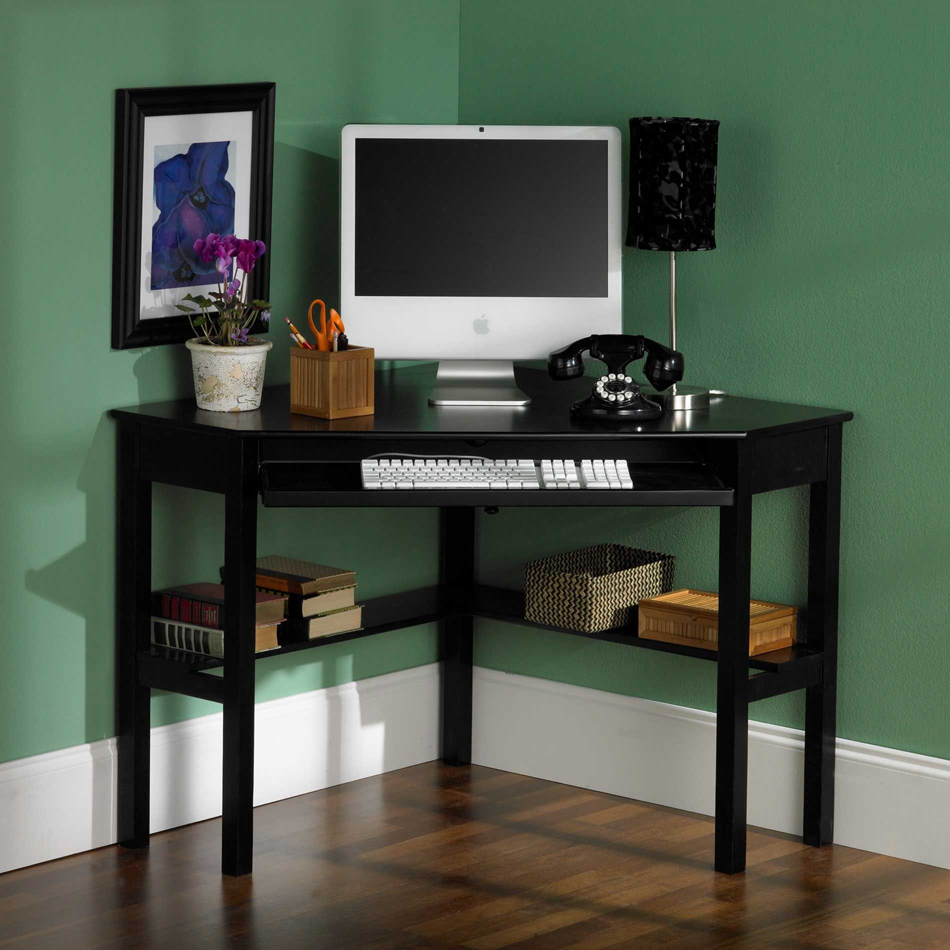 Hon Black Corner Computer Desk With Green Paint Wall For Model And - Hon computer table
