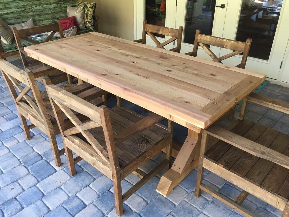 All Cedar Wood Dining Table With 6 Custom Wood Chairs