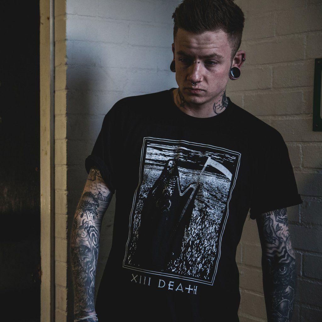 Danny zuko black t shirt - Alternative Male Model Covered In Tattoos Wearing A Black Death Tarot Card T Shirt