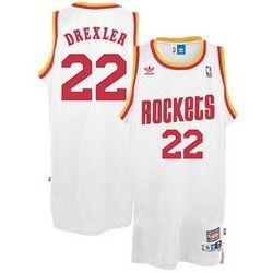 Houston Rockets #22 Clyde Drexler White Swingman Throwback Jersey