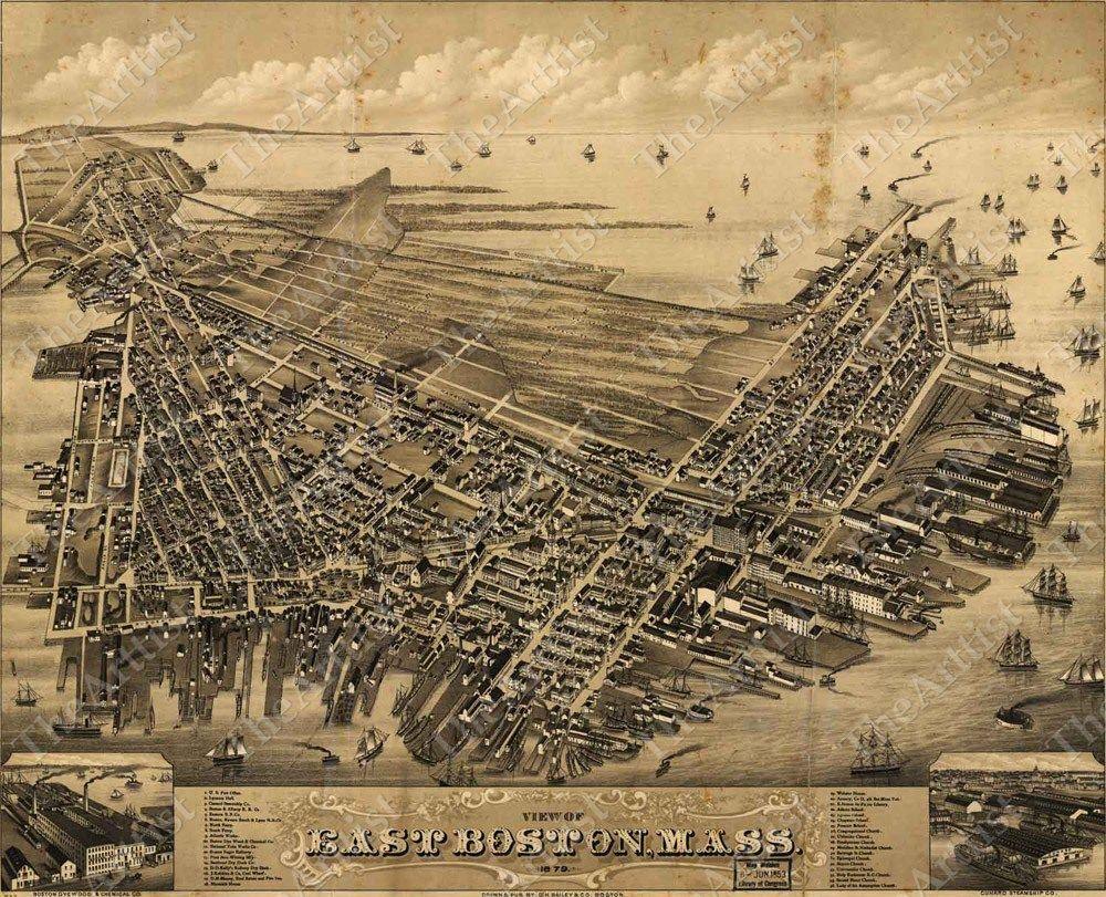 BOSTONAREAMAPXDPIjpg Antique And - Antique looking maps