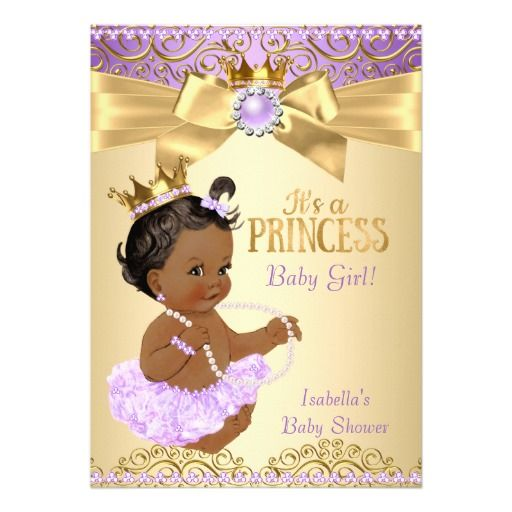 lilac gold ballerina princess baby shower ethnic card   baby, Baby shower invitations