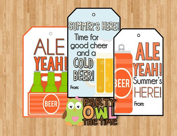 8 Beer Favor Gift Tags Teacher Appreciation Volunteer Teacher
