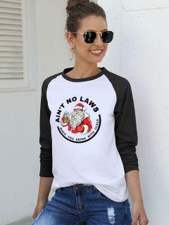 Women Ain't No Laws Santa Graphic Raglan Shirts Christmas Casual Blouse Tops #casualchristmasoutfitsforwomen