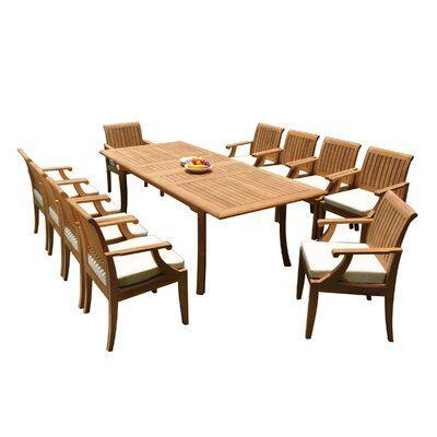 Rosecliff Heights Dimitri 11 Piece Teak Dining Set | Wayfair.ca