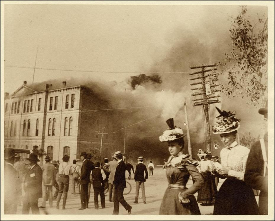 1899 - Temporary capitol burning down  It is the building