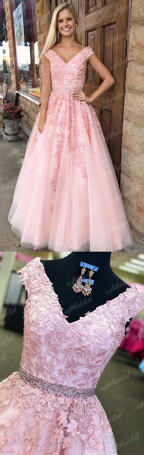 V-neck Pink Lace A-line Beaded Prom Dresses, Lovely Prom Dresses ...