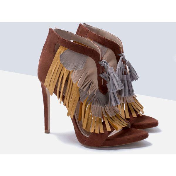 Zara Black Fringed Tasseled High Heel Ankle Strap Sandals all sizes