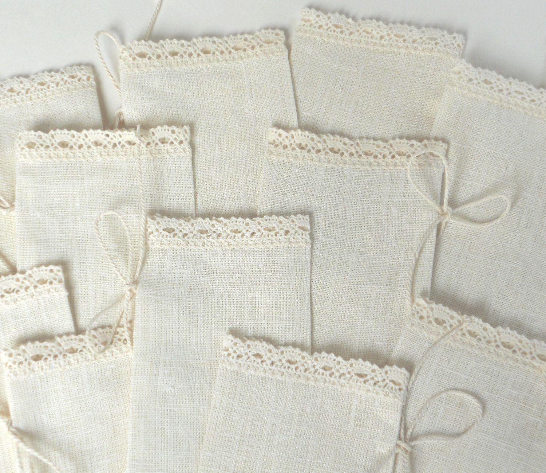 Ivory favor sachets linen burlap with lace, wedding favor bags set ...
