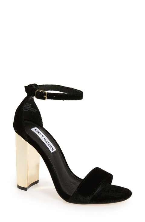 Steve Madden Carrson Sandal in Black Velvet with Gold Heel