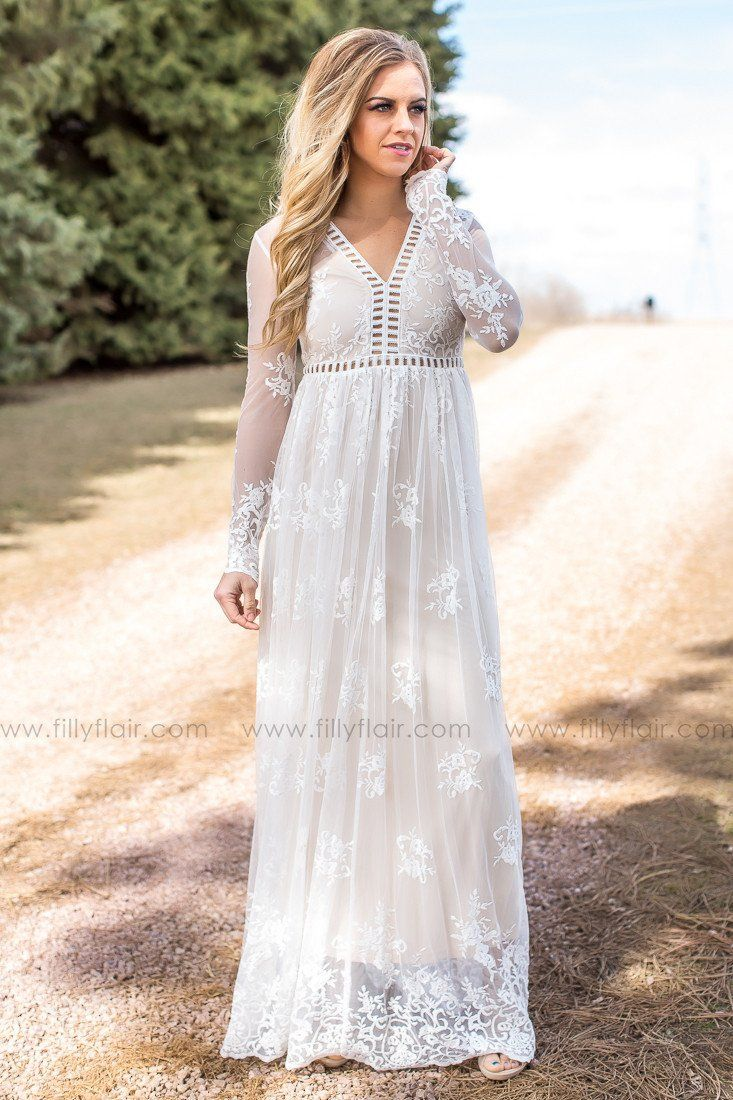 71c6688c680f94 Eternal Love Lace Cut Out Maxi Dress In Ivory in 2019 | Clothing ...