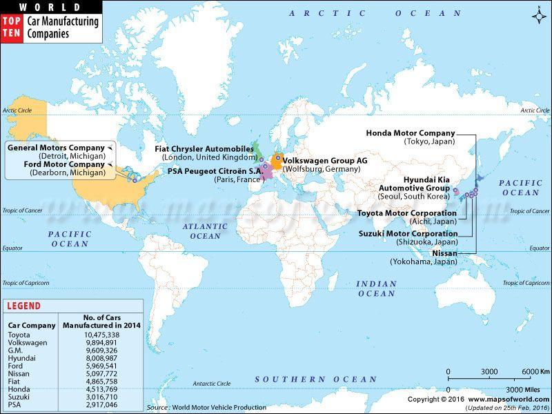 World Map - Top Ten Car Manufacturing Companies World Top Ten - best of world map showing population growth
