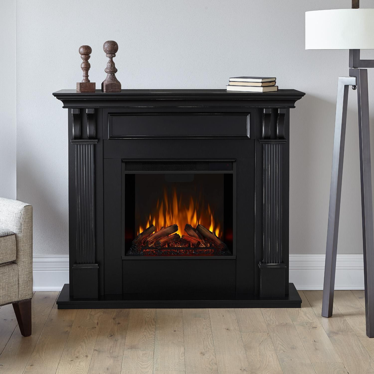 Real Flame 7100e Bw Ashley 48 Inch Electric Fireplace With Mantel Blackwash Bbqguys In 2021 Electric Fireplace Fireplace Black Electric Fireplace