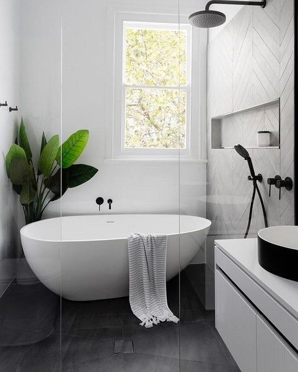 Shower And Bath Combined Wet Room Modern Farmhouse