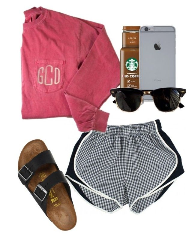 """""""going to the movies"""" by sofiaestrada ❤ liked on Polyvore featuring Birkenstock, Ray-Ban and Sals15th"""