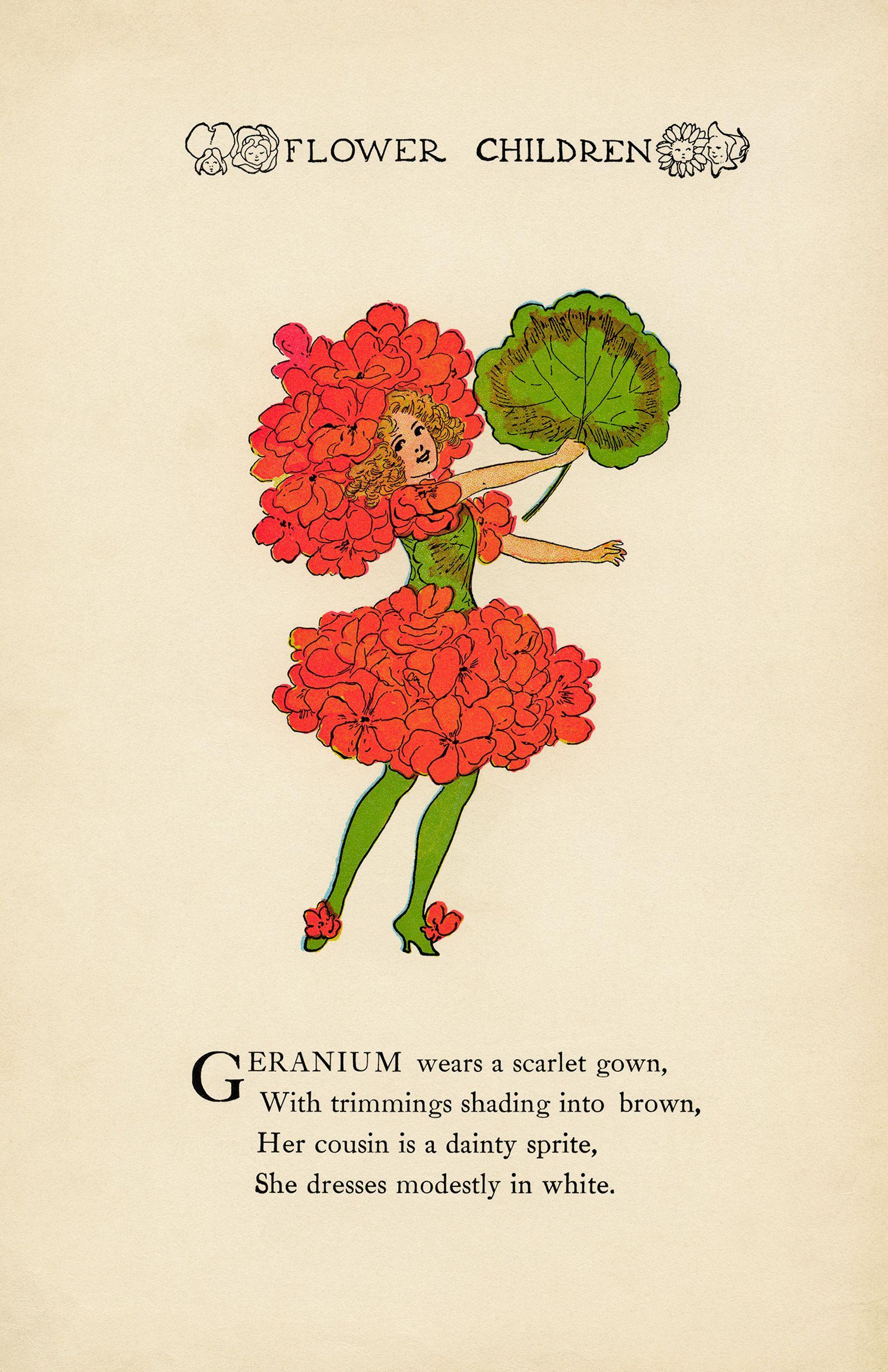 geranium flower child, elizabeth gordon, old book page, vintage