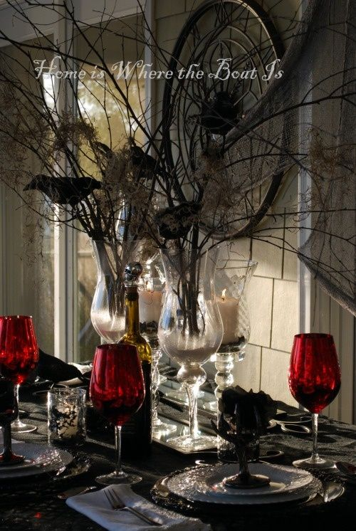 halloween decorating ideas opulent dinner table for an amazing halloween and vampire dinner party - Vampire Halloween Decorations