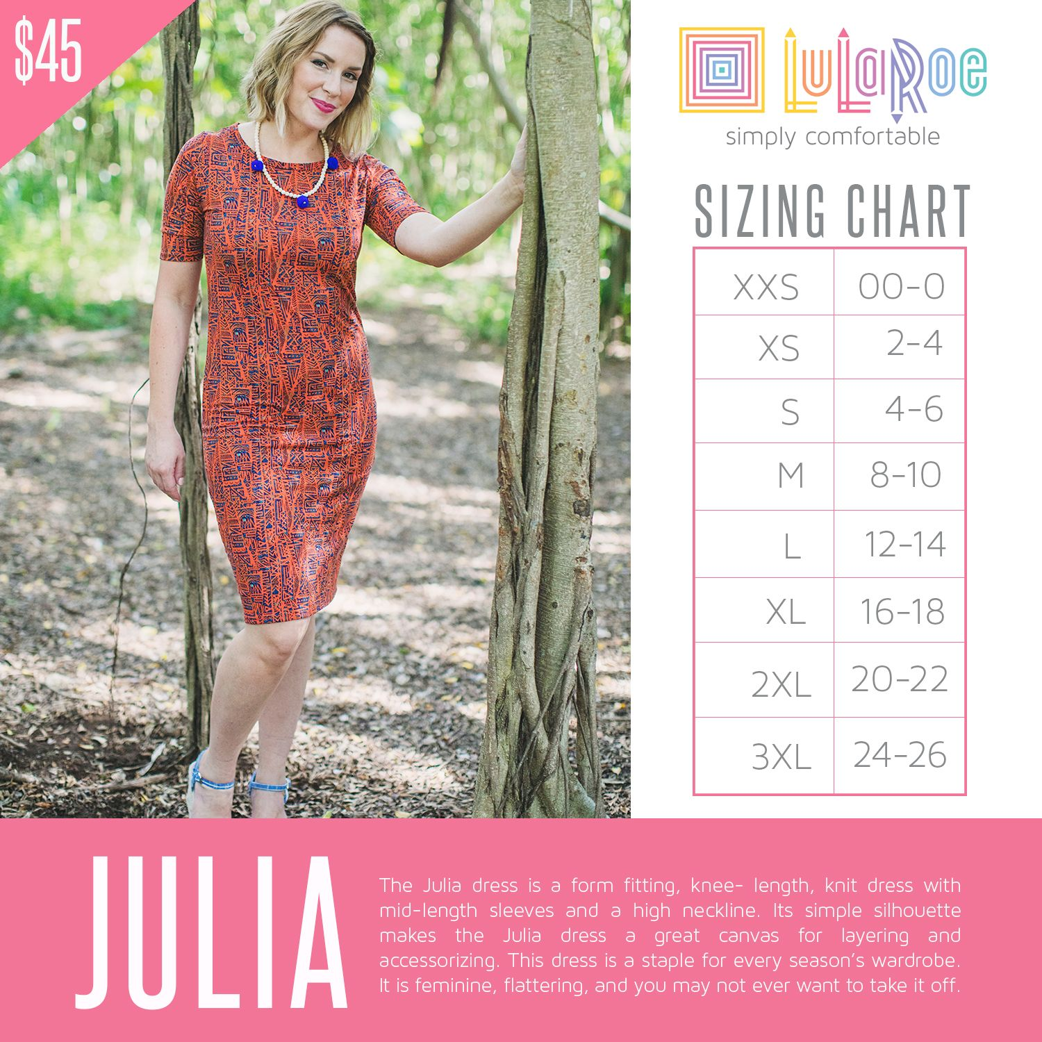 The julia dress is  form fitting knee length knit with mid also lularoe sizing chart price size charts rh pinterest