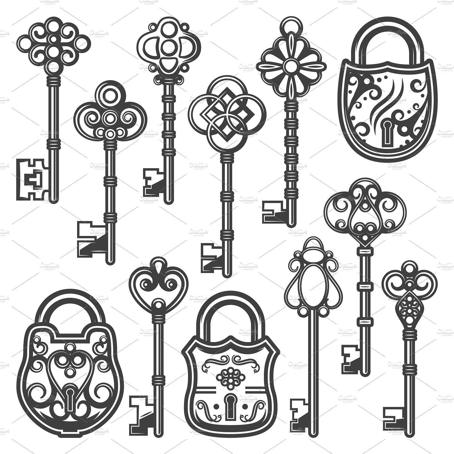 Vintage Ornamental Keys And Locks Security Ornamental