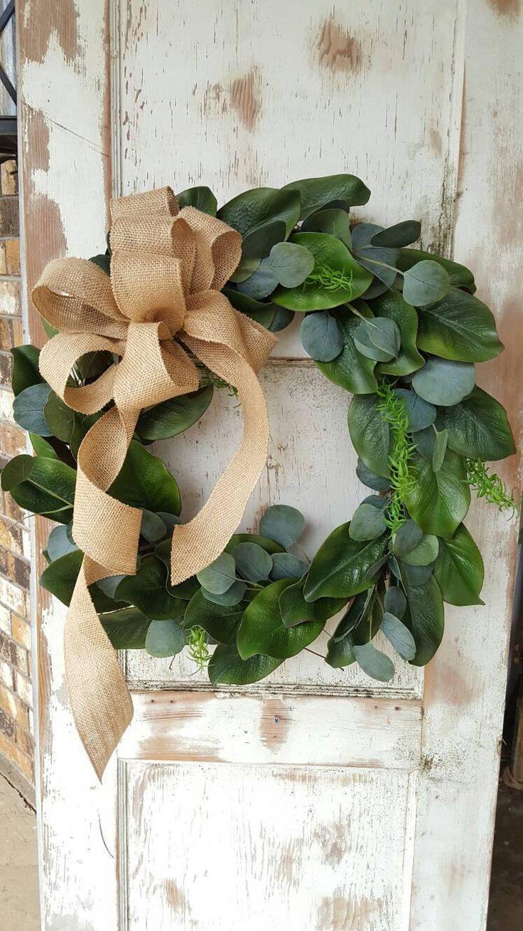 Front Door Wreath Magnolia Eucalyptus Wreath Farmhouse Wreath