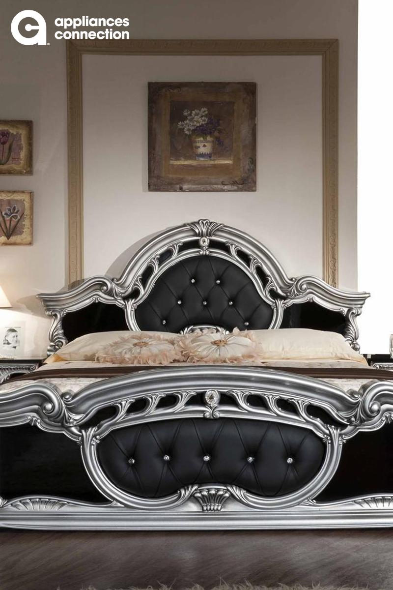 Vig Furniture Vgacrococo Blkq Modrest Rococo Italian Classic Queen Size Bed With Acanthus Leaf Motif Silver Bedroom Black And Silver Bedroom Bedroom Bed Design