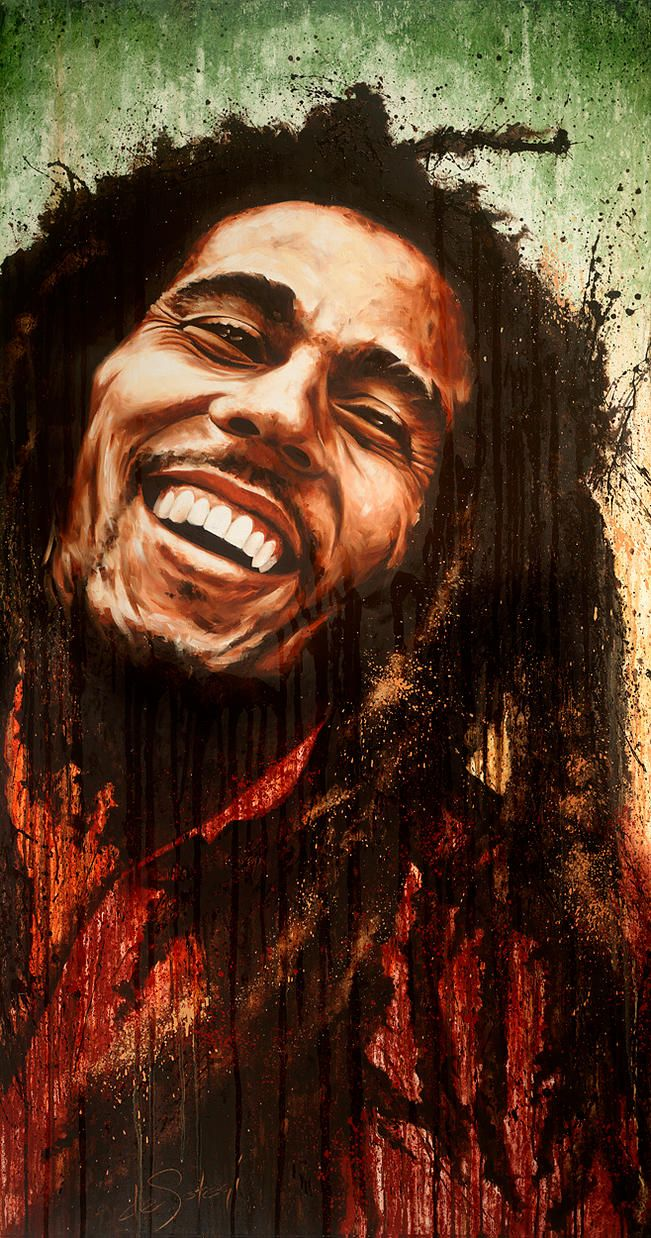 "Oil on canvas painting by deSotogi of Bob Marley entitled ""One Destiny"""
