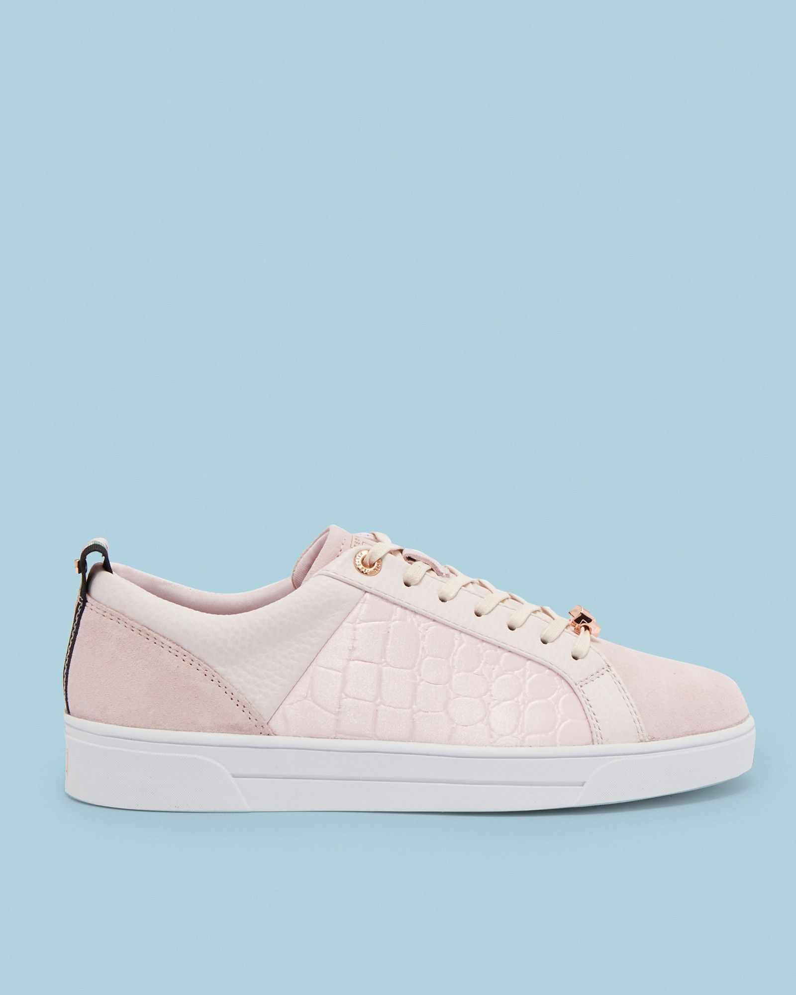 dbb37e292fe98f Ted Baker Contrast trim leather trainers Light Pink