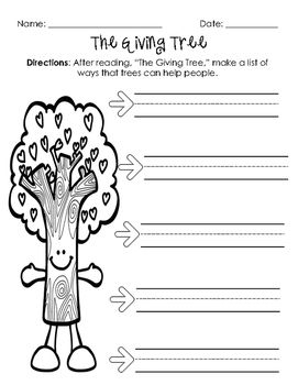 The Giving Tree Comprehension Freebie The Giving Tree Earth Day