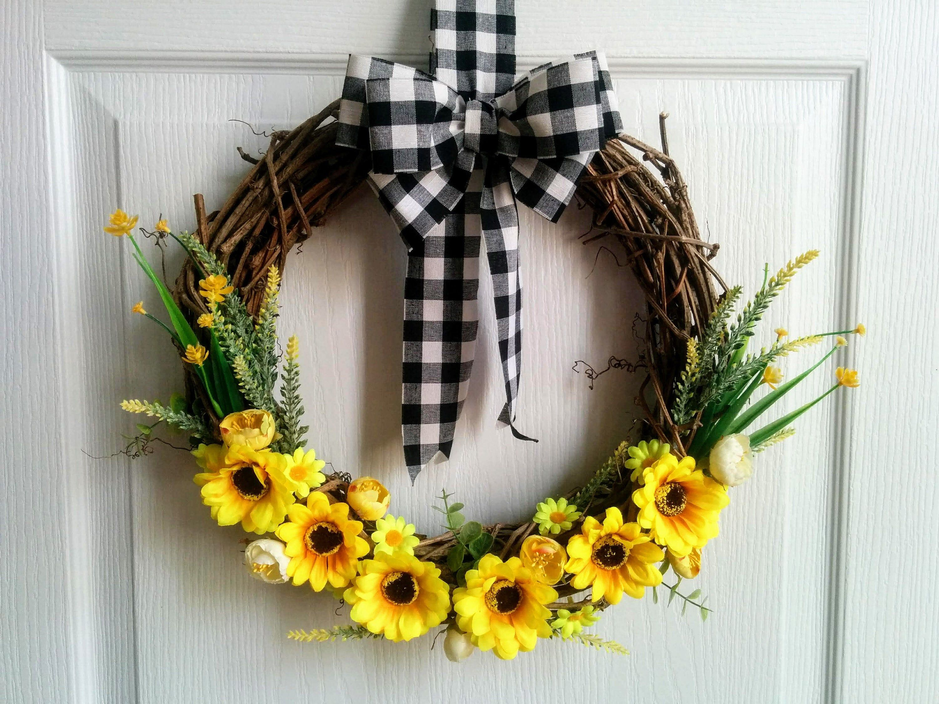 Photo of Sunflower wreath farmhouse gingham bows black and white ribbon burlap for front …