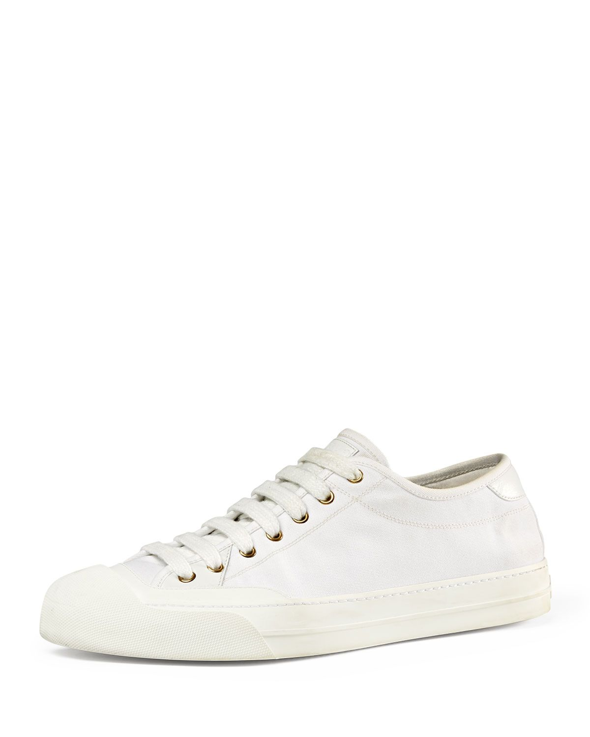 Gucci Canvas Low-Top Sneaker, White