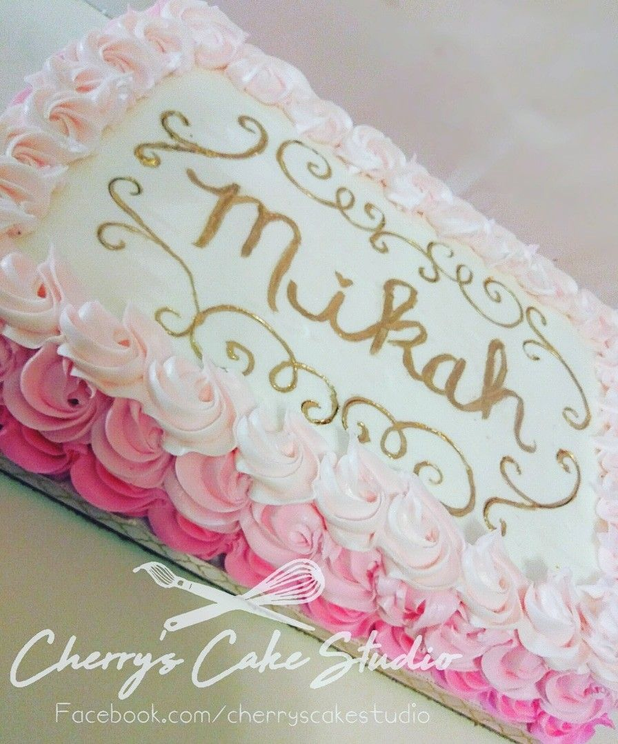 Pink Ombre Rosette Sheet Cake With Images Baby Shower Sheet