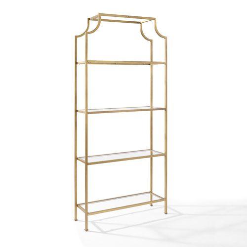 Crosley Furniture Aimee Gold Glass Etagere Cf6101 Gl Glass