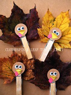 Clothespin & Leaf Turkey Craft