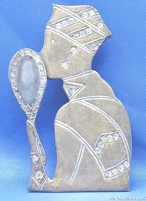 Vintage-1920s-FISHEL-NESSLER-Rhinestone-Brooch-Flapper-LADY-WITH-MIRROR