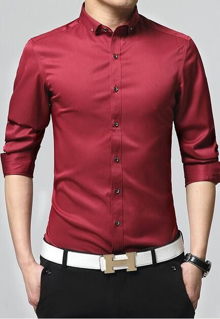 Mens Slim Fit Button Down Shirt Men Shirt Style Casual Shirts