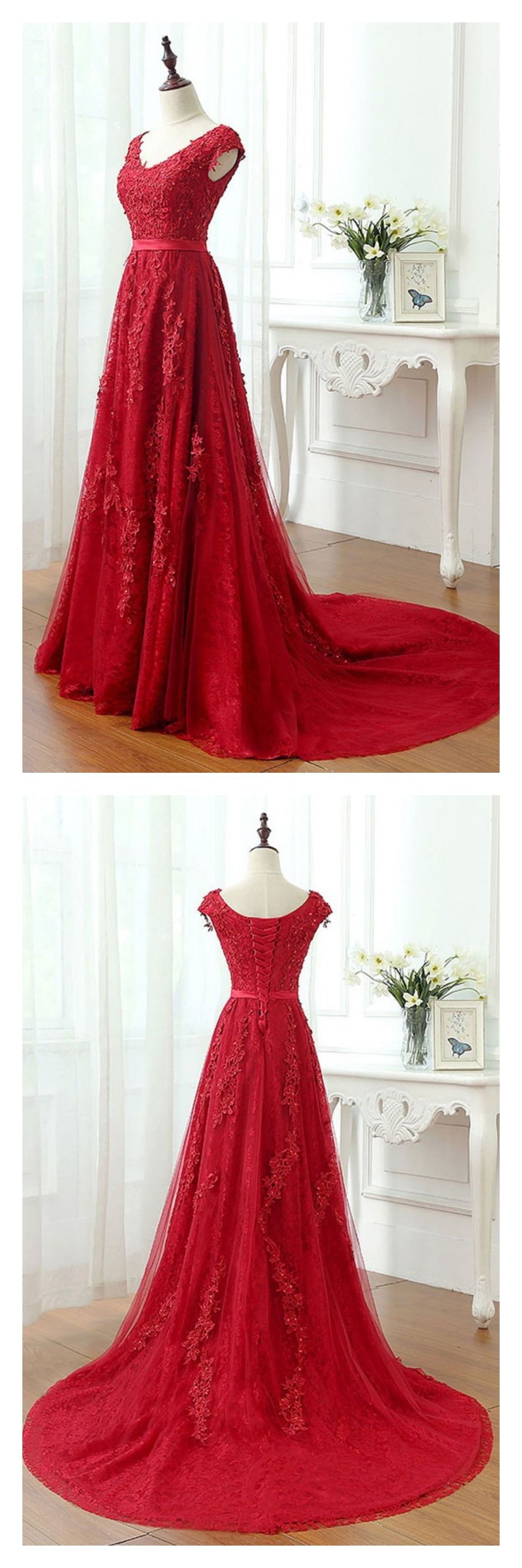 A line red vneck long lace prom dresses with cap sleevesed