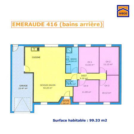 plan maison plein pied 4 chambres maison Pinterest - plan de maison de 100m2 plein pied