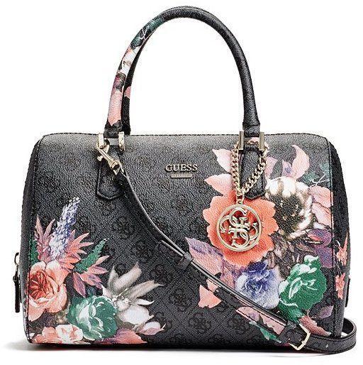 39afd387d42c Linea Floral-Print Logo Box Satchel. Linea Floral-Print Logo Box Satchel Guess  Handbags