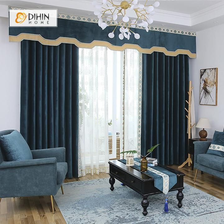 Dihin home high quality dark blue embroidered valance