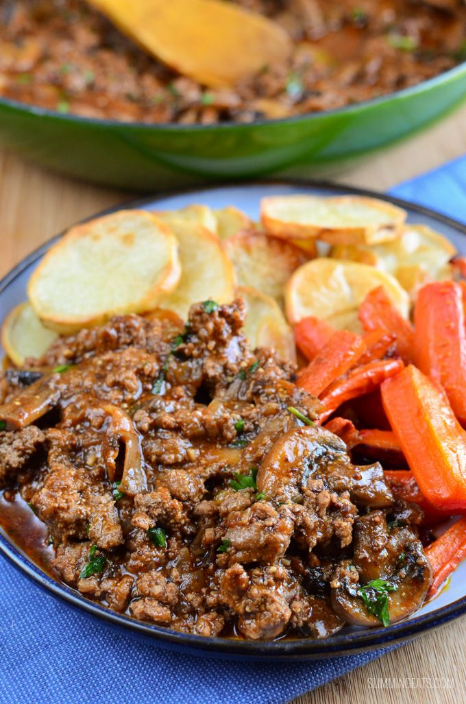 Low Syn Mustard Beef And Mushrooms Gluten Free Dairy Free Paleo Whole30 Slimming World And Weight Beef With Mushroom Minced Beef Recipes Healthy Recipes