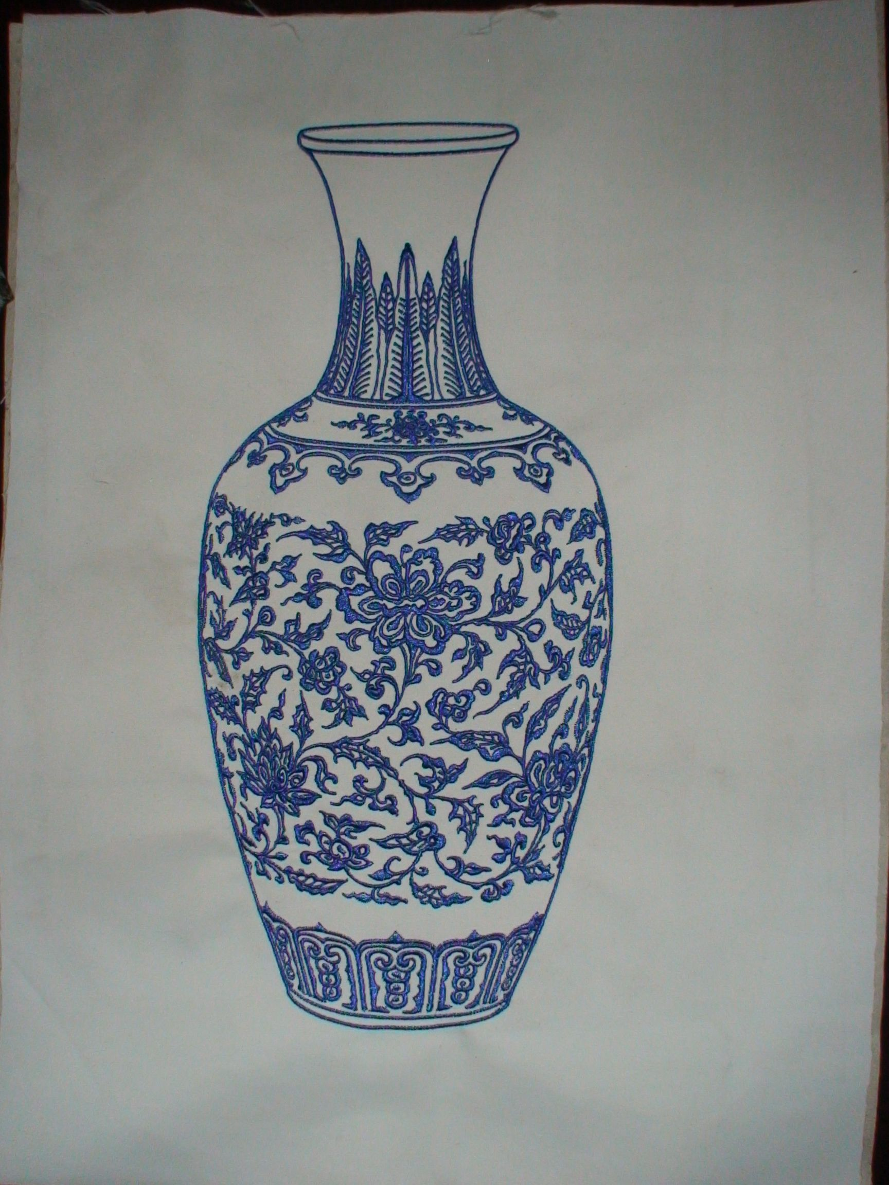 blue and white porcelain embroidery artwork made by Richpeace