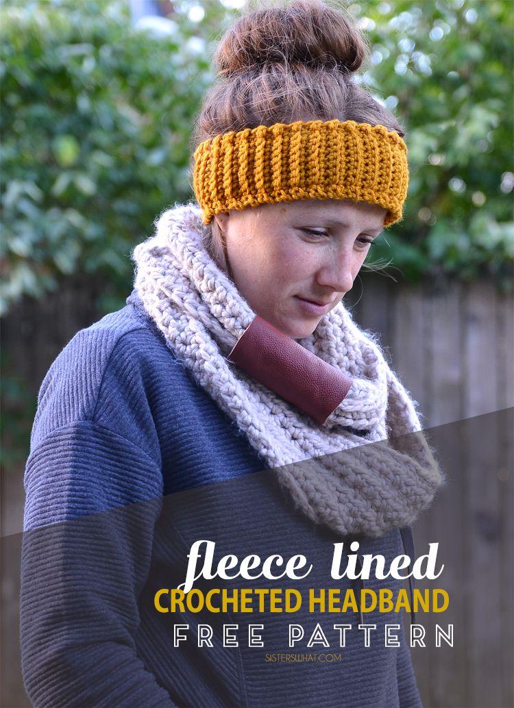 Fleece Lined Crocheted Headband Free Crochet Pattern   Pinterest