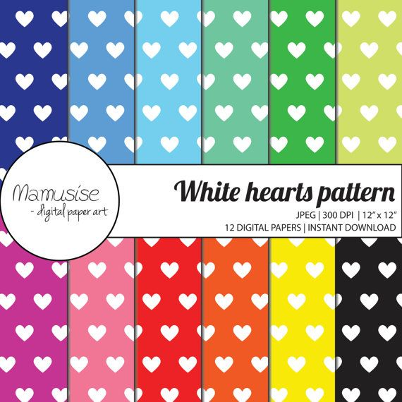 White Hearts On Bright Colors Digital Paper pack by Mamusise