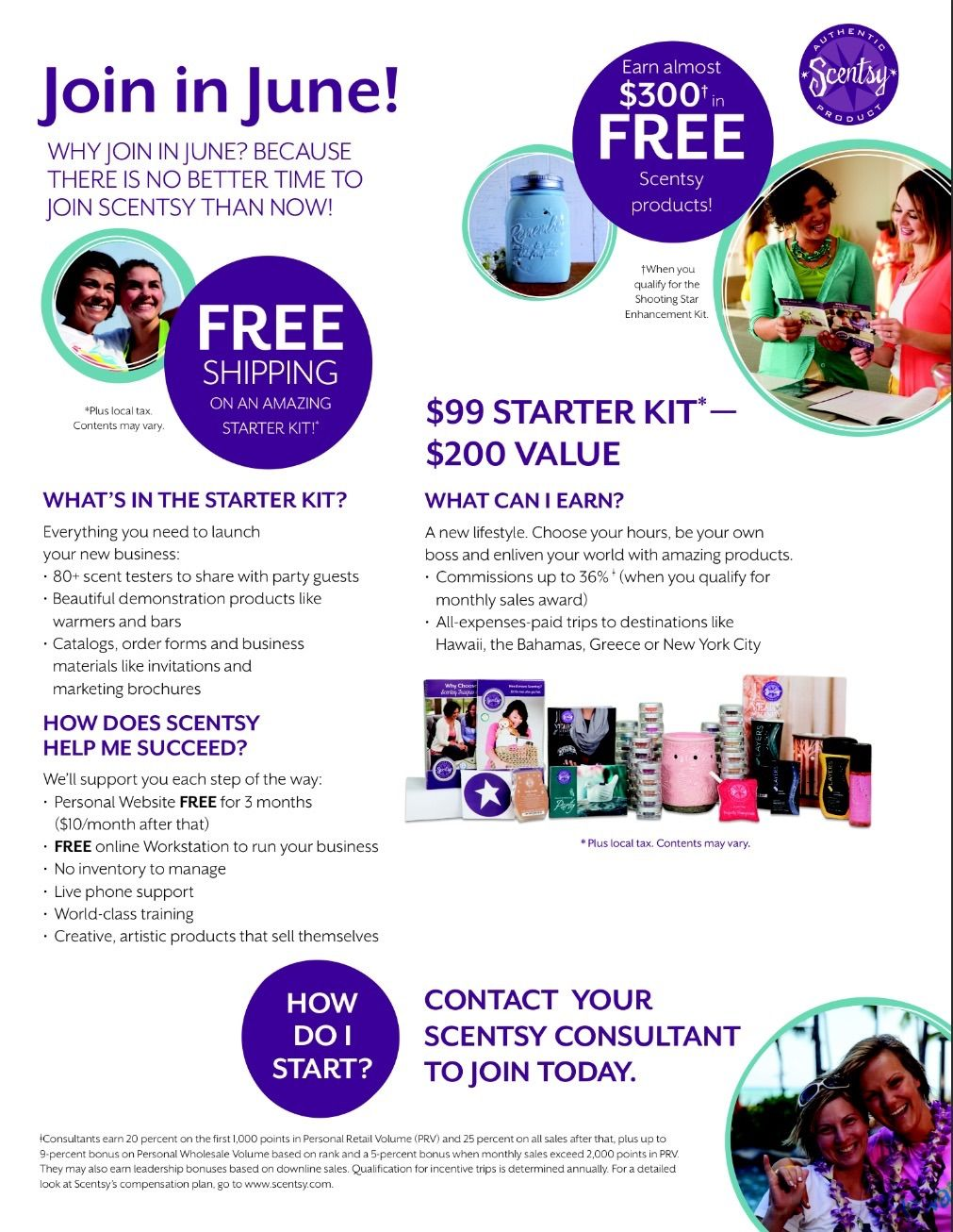 Basically you pay $99 plus tax for your starter kit, it ships free! If you have 500 PRV (personal retail volume) in your first 15 days as a consultant you earn the shooting star kit! Typically when you earn this, you pay a reduced rate of $200, but for June ONLY it's free!! What are YOU waiting for? You can earn trips with Scentsy! It's very flexible with low requirements to stay active! www.juliepreston.scentsy.us/join