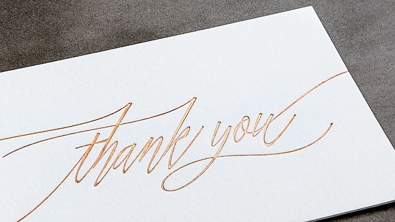 Copper Foil Thank You Notes Bliss  Bone Elegant Design