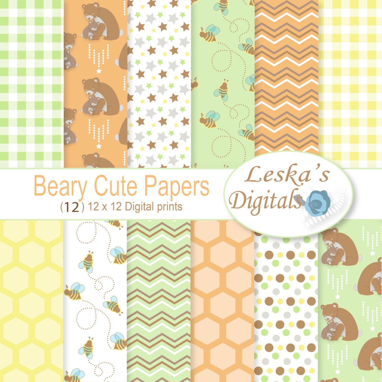 Scrapbook paper baby - Baby Digital Paper Backgrounds Baby Digital Paper Baby Scrapbook Backgrounds Baby Pattern Of Bears And Bees Printable Paper Cute Paper