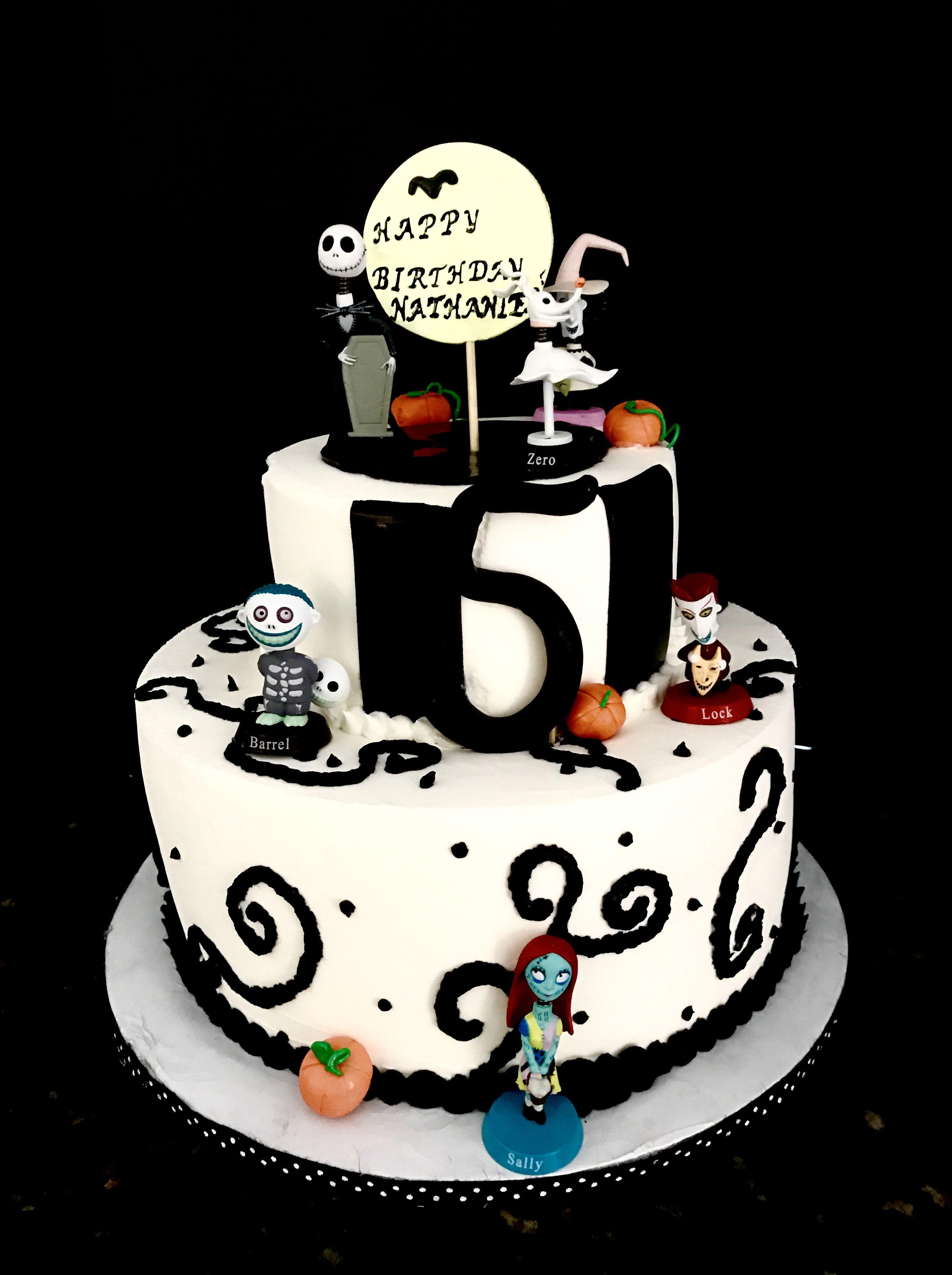 Brilliant Nightmare Before Christmas Themed Happy Birthday Cake Happy Funny Birthday Cards Online Elaedamsfinfo