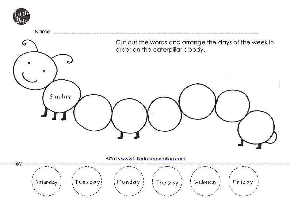 The Very Hungry Caterpillar Theme Free Days Of The Week